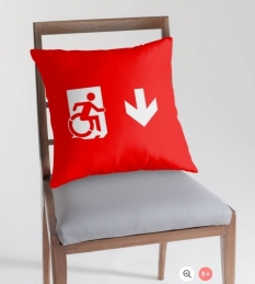 Accessible Exit Sign Project Wheelchair Wheelie Running Man Symbol Means of Egress Icon Disability Emergency Evacuation Fire Safety Throw Pillow Cushion 9