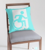 Accessible Exit Sign Project Wheelchair Wheelie Running Man Symbol Means of Egress Icon Disability Emergency Evacuation Fire Safety Throw Pillow Cushion 91