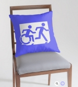 Accessible Exit Sign Project Wheelchair Wheelie Running Man Symbol Means of Egress Icon Disability Emergency Evacuation Fire Safety Throw Pillow Cushion 92