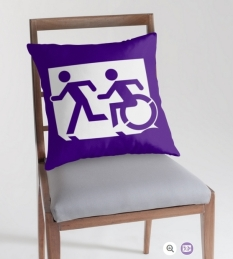 Accessible Exit Sign Project Wheelchair Wheelie Running Man Symbol Means of Egress Icon Disability Emergency Evacuation Fire Safety Throw Pillow Cushion 93