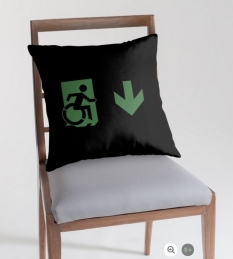 Accessible Exit Sign Project Wheelchair Wheelie Running Man Symbol Means of Egress Icon Disability Emergency Evacuation Fire Safety Throw Pillow Cushion 94