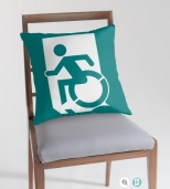 Accessible Exit Sign Project Wheelchair Wheelie Running Man Symbol Means of Egress Icon Disability Emergency Evacuation Fire Safety Throw Pillow Cushion 95