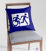 Accessible Exit Sign Project Wheelchair Wheelie Running Man Symbol Means of Egress Icon Disability Emergency Evacuation Fire Safety Throw Pillow Cushion 96