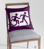 Accessible Exit Sign Project Wheelchair Wheelie Running Man Symbol Means of Egress Icon Disability Emergency Evacuation Fire Safety Throw Pillow Cushion 97