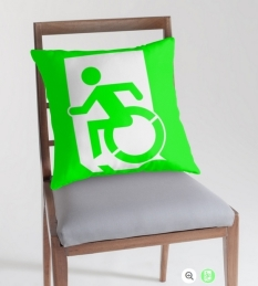 Accessible Exit Sign Project Wheelchair Wheelie Running Man Symbol Means of Egress Icon Disability Emergency Evacuation Fire Safety Throw Pillow Cushion 99
