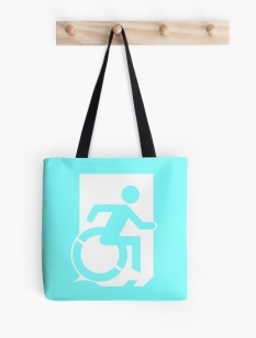 Accessible Exit Sign Project Wheelchair Wheelie Running Man Symbol Means of Egress Icon Disability Emergency Evacuation Fire Safety Tote Bag 100