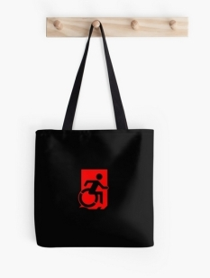 Accessible Exit Sign Project Wheelchair Wheelie Running Man Symbol Means of Egress Icon Disability Emergency Evacuation Fire Safety Tote Bag 105
