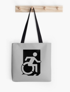 Accessible Exit Sign Project Wheelchair Wheelie Running Man Symbol Means of Egress Icon Disability Emergency Evacuation Fire Safety Tote Bag 111