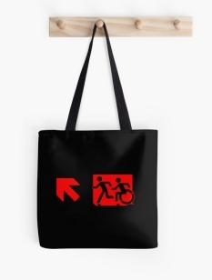 Accessible Exit Sign Project Wheelchair Wheelie Running Man Symbol Means of Egress Icon Disability Emergency Evacuation Fire Safety Tote Bag 113