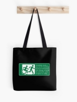 Accessible Exit Sign Project Wheelchair Wheelie Running Man Symbol Means of Egress Icon Disability Emergency Evacuation Fire Safety Tote Bag 115
