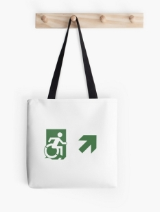 Accessible Exit Sign Project Wheelchair Wheelie Running Man Symbol Means of Egress Icon Disability Emergency Evacuation Fire Safety Tote Bag 118
