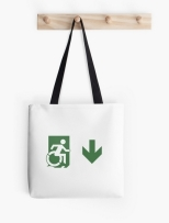 Accessible Exit Sign Project Wheelchair Wheelie Running Man Symbol Means of Egress Icon Disability Emergency Evacuation Fire Safety Tote Bag 120