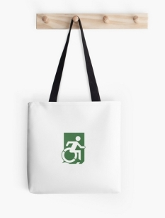 Accessible Exit Sign Project Wheelchair Wheelie Running Man Symbol Means of Egress Icon Disability Emergency Evacuation Fire Safety Tote Bag 121