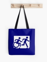 Accessible Exit Sign Project Wheelchair Wheelie Running Man Symbol Means of Egress Icon Disability Emergency Evacuation Fire Safety Tote Bag 122