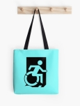 Accessible Exit Sign Project Wheelchair Wheelie Running Man Symbol Means of Egress Icon Disability Emergency Evacuation Fire Safety Tote Bag 124
