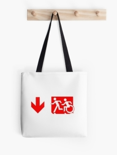 Accessible Exit Sign Project Wheelchair Wheelie Running Man Symbol Means of Egress Icon Disability Emergency Evacuation Fire Safety Tote Bag 127