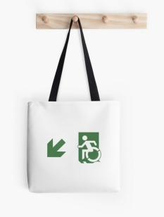 Accessible Exit Sign Project Wheelchair Wheelie Running Man Symbol Means of Egress Icon Disability Emergency Evacuation Fire Safety Tote Bag 128