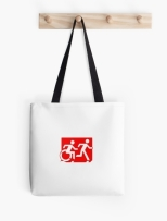 Accessible Exit Sign Project Wheelchair Wheelie Running Man Symbol Means of Egress Icon Disability Emergency Evacuation Fire Safety Tote Bag 132