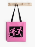 Accessible Exit Sign Project Wheelchair Wheelie Running Man Symbol Means of Egress Icon Disability Emergency Evacuation Fire Safety Tote Bag 133