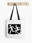 Accessible Exit Sign Project Wheelchair Wheelie Running Man Symbol Means of Egress Icon Disability Emergency Evacuation Fire Safety Tote Bag 134