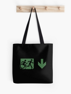 Accessible Exit Sign Project Wheelchair Wheelie Running Man Symbol Means of Egress Icon Disability Emergency Evacuation Fire Safety Tote Bag 135