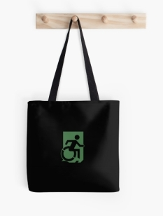 Accessible Exit Sign Project Wheelchair Wheelie Running Man Symbol Means of Egress Icon Disability Emergency Evacuation Fire Safety Tote Bag 136
