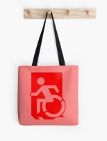 Accessible Exit Sign Project Wheelchair Wheelie Running Man Symbol Means of Egress Icon Disability Emergency Evacuation Fire Safety Tote Bag 137