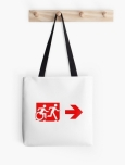 Accessible Exit Sign Project Wheelchair Wheelie Running Man Symbol Means of Egress Icon Disability Emergency Evacuation Fire Safety Tote Bag 140
