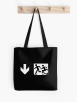 Accessible Exit Sign Project Wheelchair Wheelie Running Man Symbol Means of Egress Icon Disability Emergency Evacuation Fire Safety Tote Bag 143