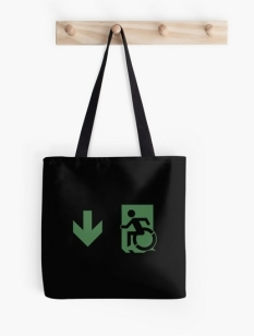 Accessible Exit Sign Project Wheelchair Wheelie Running Man Symbol Means of Egress Icon Disability Emergency Evacuation Fire Safety Tote Bag 145