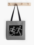 Accessible Exit Sign Project Wheelchair Wheelie Running Man Symbol Means of Egress Icon Disability Emergency Evacuation Fire Safety Tote Bag 147
