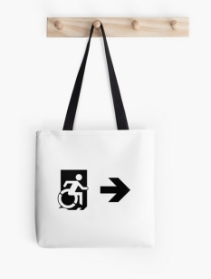 Accessible Exit Sign Project Wheelchair Wheelie Running Man Symbol Means of Egress Icon Disability Emergency Evacuation Fire Safety Tote Bag 148