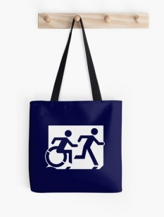 Accessible Exit Sign Project Wheelchair Wheelie Running Man Symbol Means of Egress Icon Disability Emergency Evacuation Fire Safety Tote Bag 149