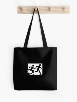 Accessible Exit Sign Project Wheelchair Wheelie Running Man Symbol Means of Egress Icon Disability Emergency Evacuation Fire Safety Tote Bag 151