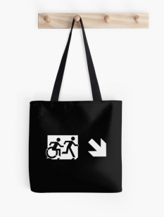 Accessible Exit Sign Project Wheelchair Wheelie Running Man Symbol Means of Egress Icon Disability Emergency Evacuation Fire Safety Tote Bag 153