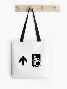 Accessible Exit Sign Project Wheelchair Wheelie Running Man Symbol Means of Egress Icon Disability Emergency Evacuation Fire Safety Tote Bag 156