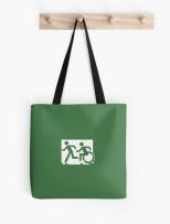 Accessible Exit Sign Project Wheelchair Wheelie Running Man Symbol Means of Egress Icon Disability Emergency Evacuation Fire Safety Tote Bag 157