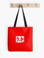 Accessible Exit Sign Project Wheelchair Wheelie Running Man Symbol Means of Egress Icon Disability Emergency Evacuation Fire Safety Tote Bag 17