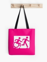 Accessible Exit Sign Project Wheelchair Wheelie Running Man Symbol Means of Egress Icon Disability Emergency Evacuation Fire Safety Tote Bag 19
