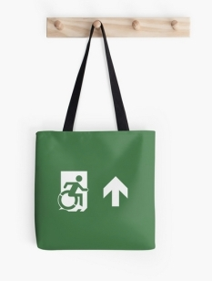 Accessible Exit Sign Project Wheelchair Wheelie Running Man Symbol Means of Egress Icon Disability Emergency Evacuation Fire Safety Tote Bag 2