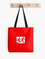 Accessible Exit Sign Project Wheelchair Wheelie Running Man Symbol Means of Egress Icon Disability Emergency Evacuation Fire Safety Tote Bag 25