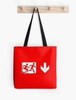 Accessible Exit Sign Project Wheelchair Wheelie Running Man Symbol Means of Egress Icon Disability Emergency Evacuation Fire Safety Tote Bag 26