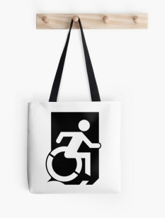 Accessible Exit Sign Project Wheelchair Wheelie Running Man Symbol Means of Egress Icon Disability Emergency Evacuation Fire Safety Tote Bag 30