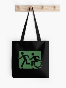 Accessible Exit Sign Project Wheelchair Wheelie Running Man Symbol Means of Egress Icon Disability Emergency Evacuation Fire Safety Tote Bag 31