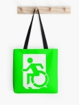 Accessible Exit Sign Project Wheelchair Wheelie Running Man Symbol Means of Egress Icon Disability Emergency Evacuation Fire Safety Tote Bag 3