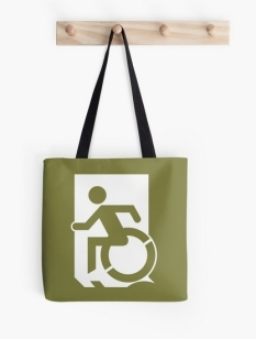 Accessible Exit Sign Project Wheelchair Wheelie Running Man Symbol Means of Egress Icon Disability Emergency Evacuation Fire Safety Tote Bag 32