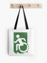 Accessible Exit Sign Project Wheelchair Wheelie Running Man Symbol Means of Egress Icon Disability Emergency Evacuation Fire Safety Tote Bag 36