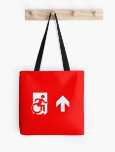 Accessible Exit Sign Project Wheelchair Wheelie Running Man Symbol Means of Egress Icon Disability Emergency Evacuation Fire Safety Tote Bag 37
