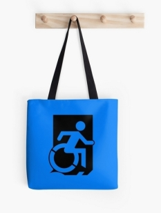 Accessible Exit Sign Project Wheelchair Wheelie Running Man Symbol Means of Egress Icon Disability Emergency Evacuation Fire Safety Tote Bag 4