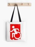 Accessible Exit Sign Project Wheelchair Wheelie Running Man Symbol Means of Egress Icon Disability Emergency Evacuation Fire Safety Tote Bag 42